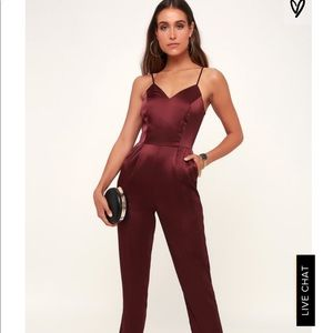 Lulus Satin Sleeveless Jumpsuit